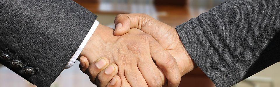 2 sich schüttelende Hände